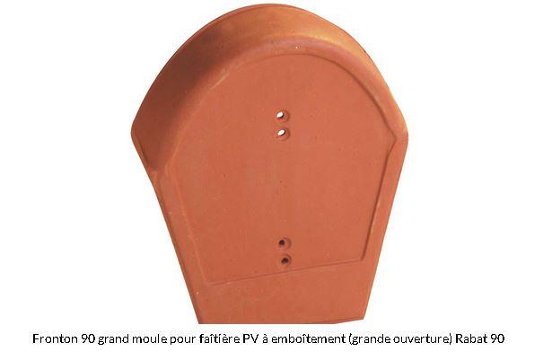 Fronton 90° grand modèle pour faitière a pureau variable a emboitement