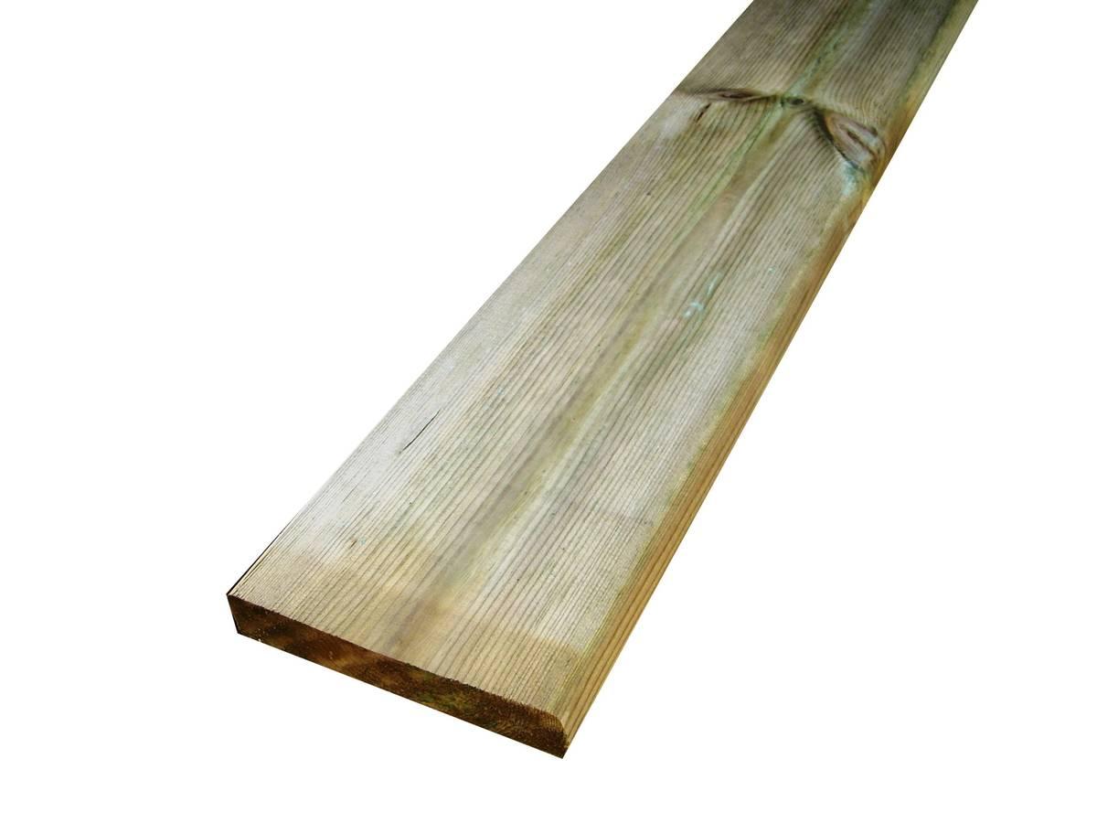 Lame de terrasse en Pin Sylvestre brun 1 face lisse/ 1 face strié -  autoclave classe 4 - 27x145mm