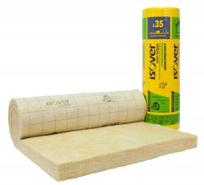 Rouleau laine de verre isoconfort 35 ep. 120mm - larg. 1200mm - long 400mm Colis de 4,80 m² (R=4.00)