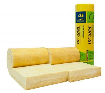 Panneau laine de verre semi-rigide isofaçade 35r ep. 75mm - larg 600mm - long 730mm  colis 8.76m2 (